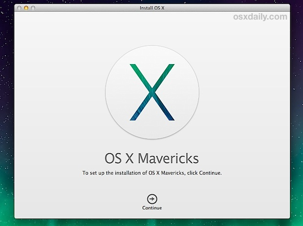 OS X Mavericks Install Screen