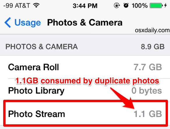 My Photo Stream wasting space