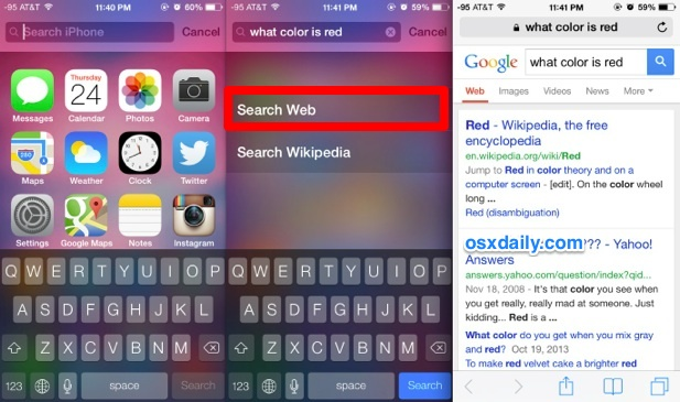 Quick web search from iOS home screen with Spotlight