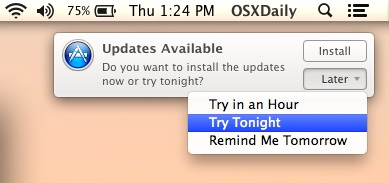 Reschedule Software Update installation reminders