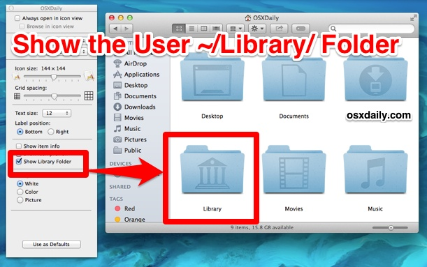 Show the users Library folder in Mac OS X Mavericks
