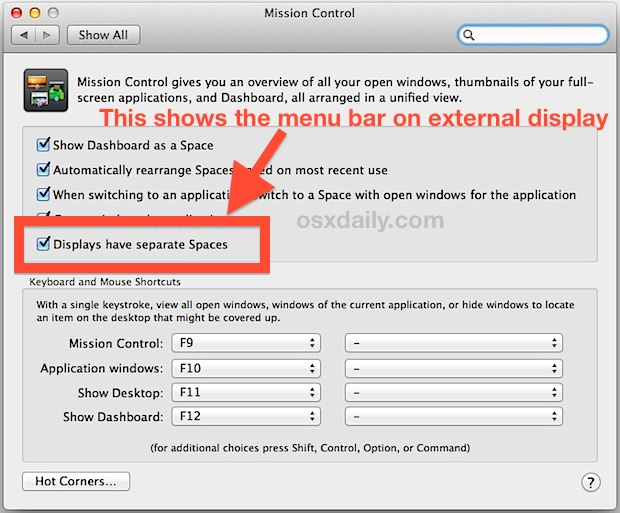Show the menu bar on external displays in Mac OS X