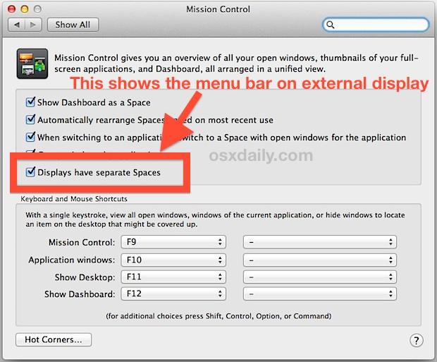 Show the menu bar on external displays in Mac OS X