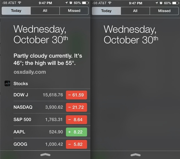 Today View customizations in Notification Center for iOS