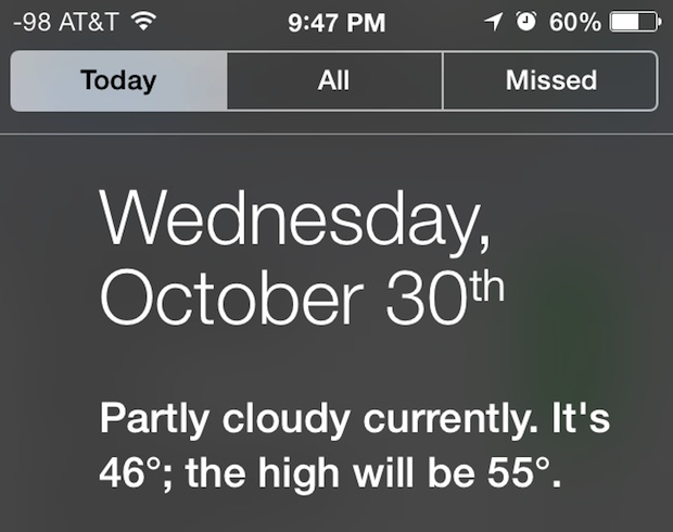 Today View in Notification Center for iOS