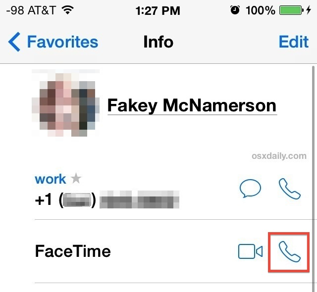 Make FaceTime audio VOIP calls from iOS