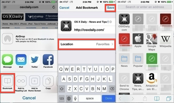 Adding web pages to Safari Favorites page in iOS