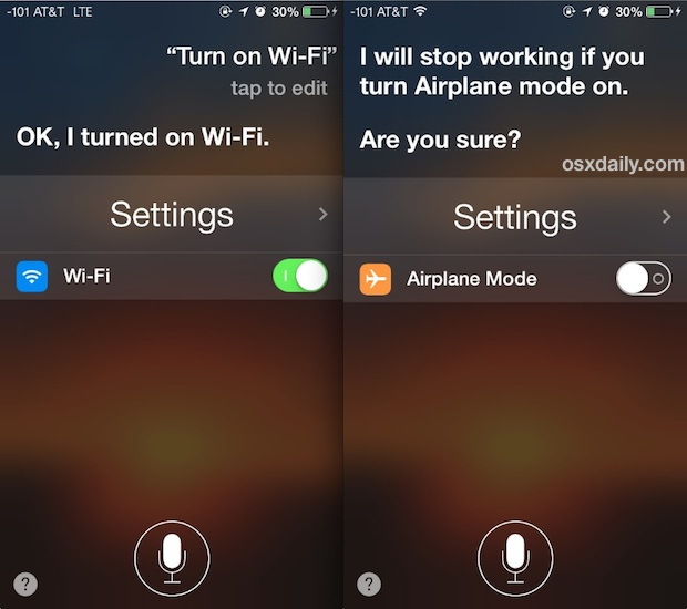 Toggle system settings in iOS with Siri