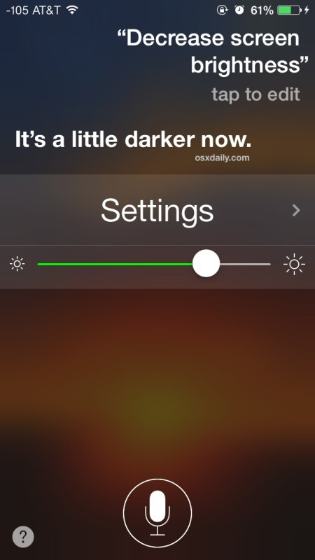 Change display brightness on the iPhone or iPad with Siri