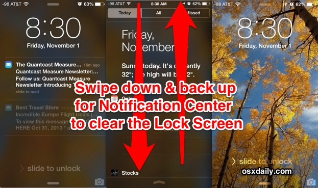 Clear the lock screen notifications quickly with a swipe up and down