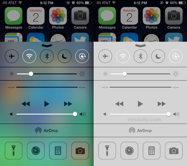Control Center before and after Enhanced Contrast