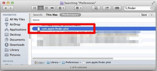 Delete the Finder plist file
