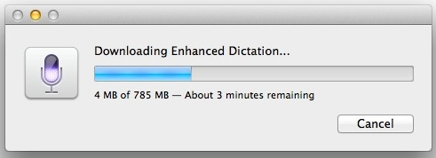Enabling Enhanced Dictation requires downloading some files to the Mac