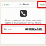 Enter a call back number for Lost Mode