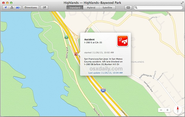 Incident report in Maps app for OS X