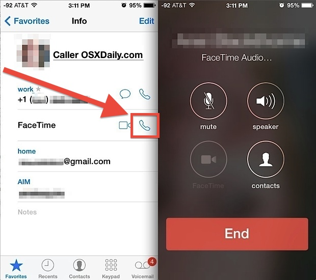 Make a FaceTime Audio call