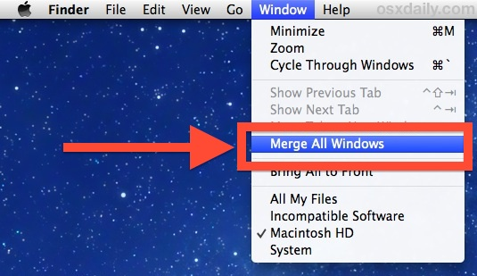 Merge All Windows brings all windows into Finder Tabs in OS X