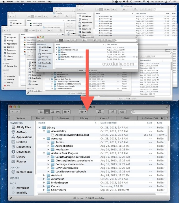 Merge all Finder windows into tabs