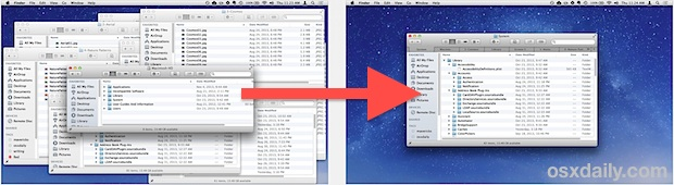 Merging windows into Finder Tabs