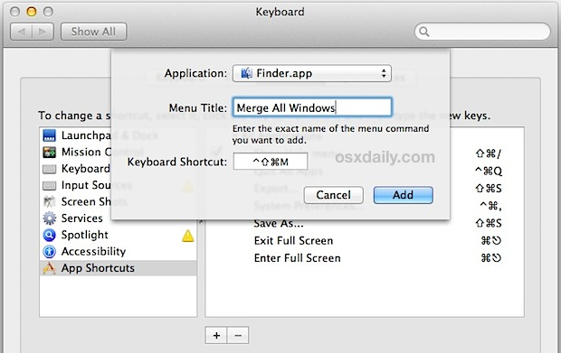 keyboard shortcut for merging Finder windows into tabs