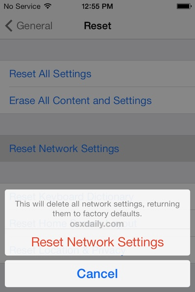 Reset the Network Settings in iOS