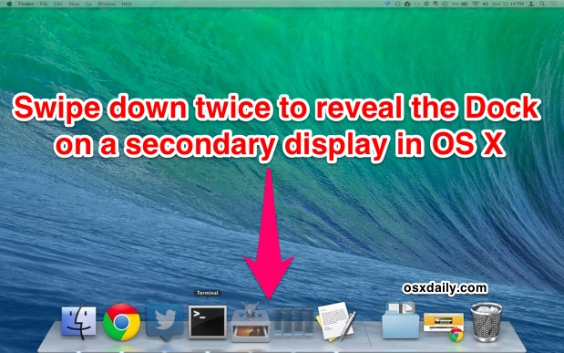 Reveal the Dock on a secondary display in Mac OS X