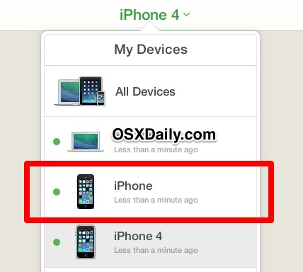Select missing iPhone from My Devices list