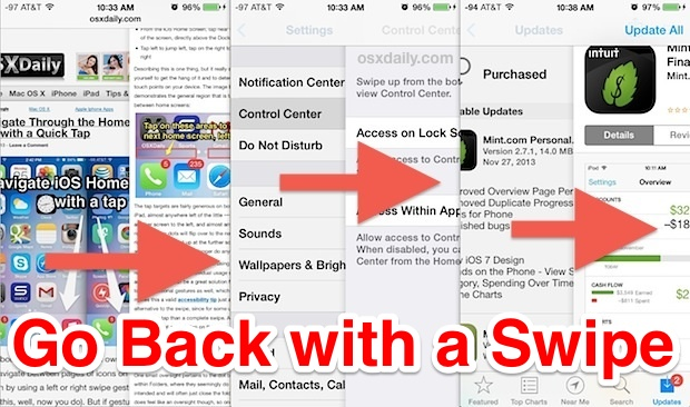 Swipe to go back with a gesture in iOS apps