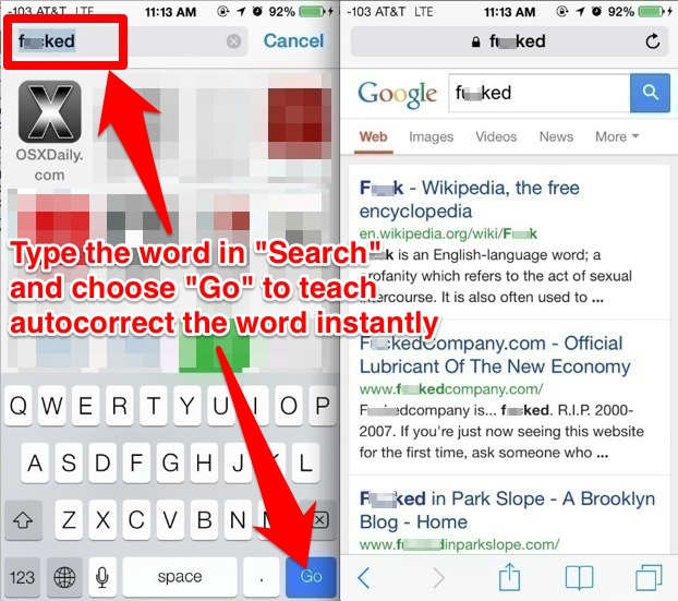 Teach Autocorrect words with Safari Search