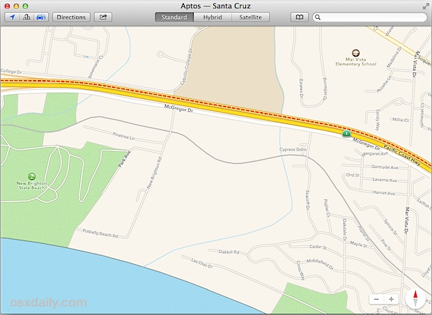 Road traffic indicated in Maps app for Mac OS X