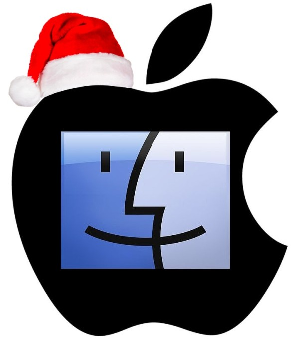 Apple logo Santa hat happy Mac