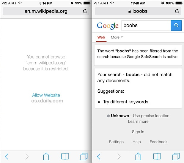 Blocked access to adult content on the web with iOS Restrictions