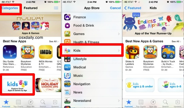 Access and browse the Kids App Store in iOS