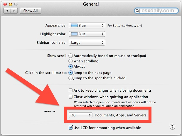 Change Open Recent menu file number in Mac OS X