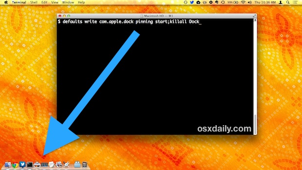 The Dock pinned to the bottom corner of the screen in Mac OS X