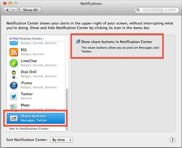 Enable Messages in Notification Center of OS X