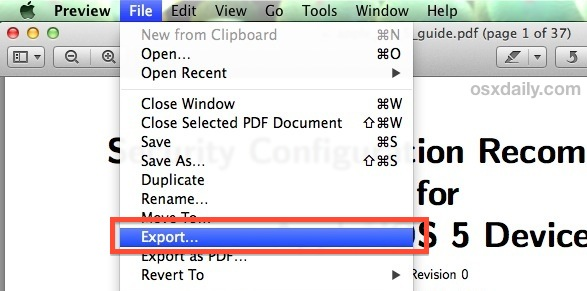 Export a PDF to compress the file size in Preview app for Mac OS X