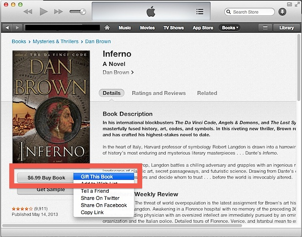 Gift a book from iTunes
