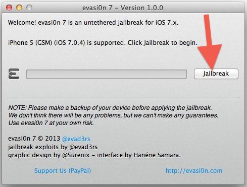 Jailbreak iOS 7 with Evasi0n