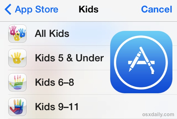 Access the Kids App Store in iOS