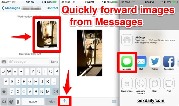 Create a new message from an existing Image in Messages app