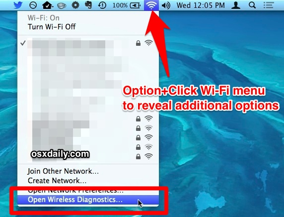 Option-Click the Wi-Fi menu to access Wireless Diagnostics tool in Mac OS X