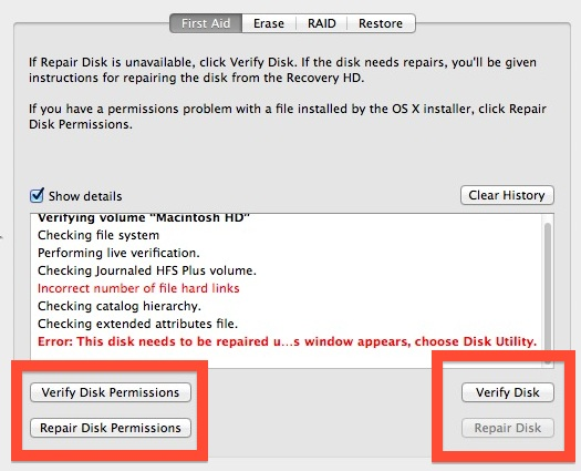 Repair with Disk Utility