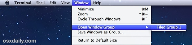 Resume and restore terminal window groups in OS X