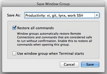 Save terminal window group with commands