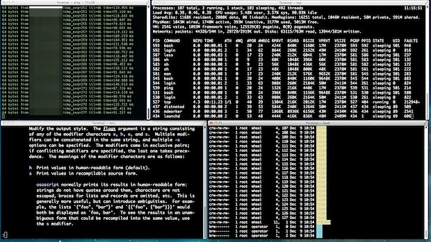 Saved and restored Terminal window group with commands
