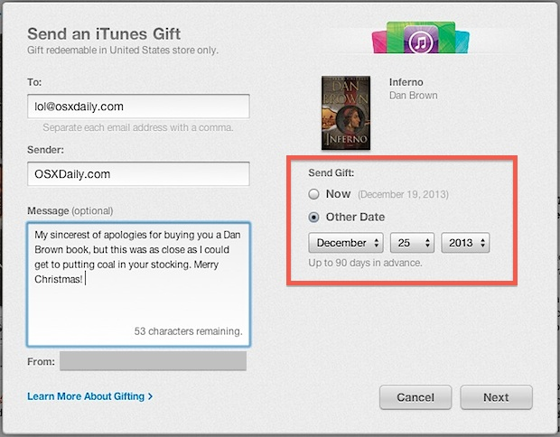 Send iBook as a gift from iTunes