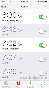Many alarm clocks on the iPhone