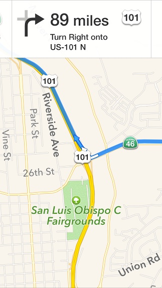 Turn by turn directions on the iPhone Maps app