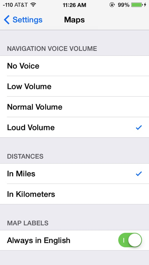 Turn by turn Navigation Directions volume on the iPhone maps